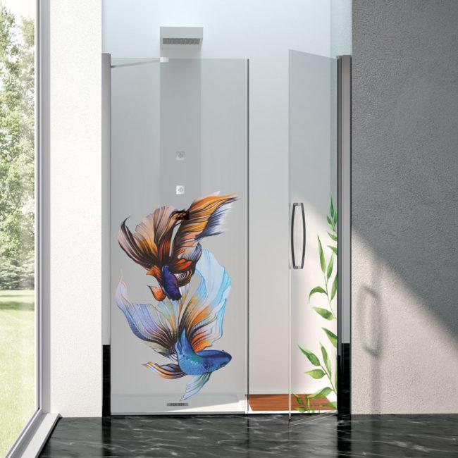 vetro stampato disegno a colori, idrosanitaria lecco