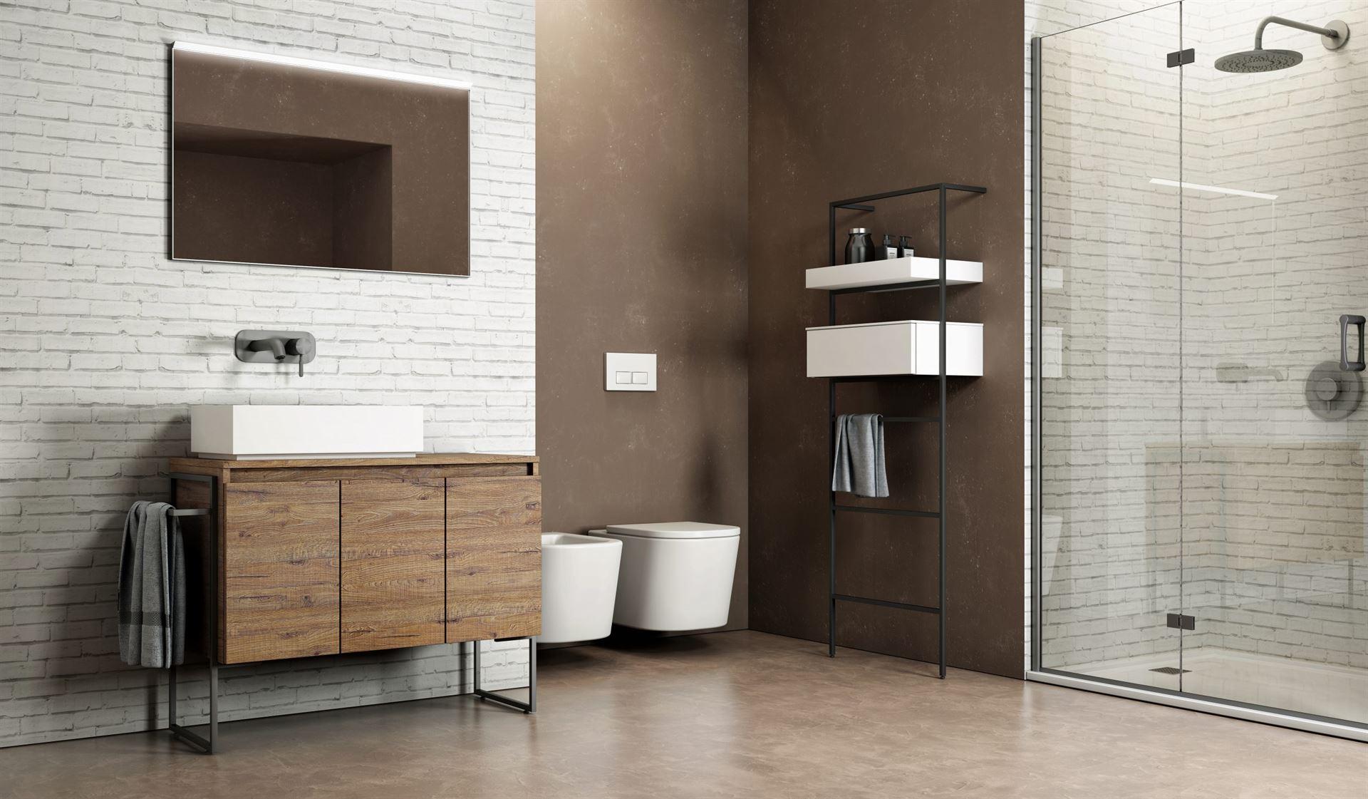 carta da parati per il bagno doccia effetto mattoncini, idrosanitaria lecco