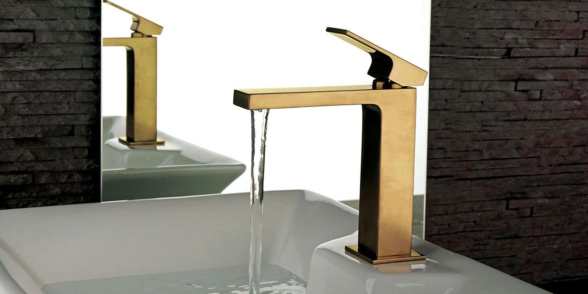 rubinetti bagno, miscelatore lavabo oro antico, idrosanitaria lecco