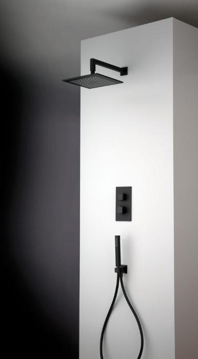rubinetti bagno, soffione quadrato nero, Idrosanitaria Lecco